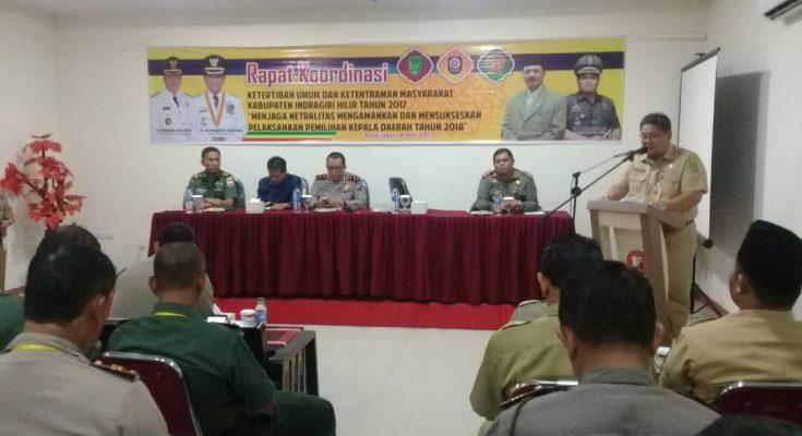 HM WARDAN HADIRI RAKOR TIBUM DAN KETENTERAMAN MASYARAKAT KABUPATEN INHIL TAHUN 2017