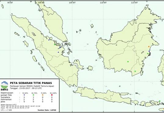 Hotspot Sumatera 52 Titik, Tertinggi di Jambi