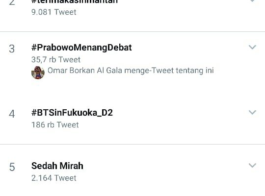 #DebatPintarJokowi Trending di Twitter Indonesia, #PrabowoMenangDebat Peringkat ke 3