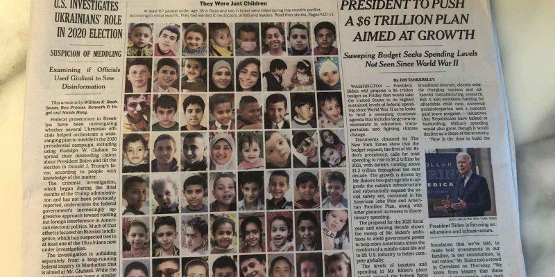 New York Times Pajang Foto Anak-Anak Korban Serangan Israel di Gaza