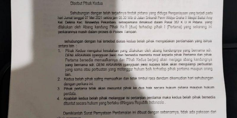Imam Masjid di Pekanbaru Tak akan Tuntut Pelaku Pemukulan